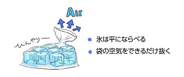 氷が四角い場合は、丁寧に平らに並べるとよい。袋の中の空気はできるだけ抜く
