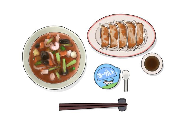 【バランスのよい食事】ラーメンの場合は餃子で主菜・副菜をまとめてプラスの画像