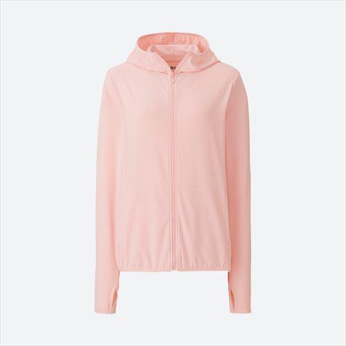 UNIQLO「エアリズムUVカットメッシュフルジップパーカ(長袖)ピンク」