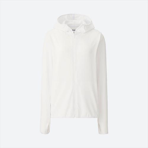UNIQLO「エアリズムUVカットメッシュフルジップパーカ(長袖)ホワイト」