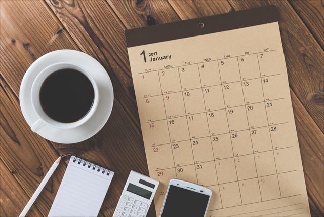 カレンダーとiPhoneの画像